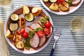 Roast Pork & Vegetables with Basil Pesto & Marinated Tomatoes