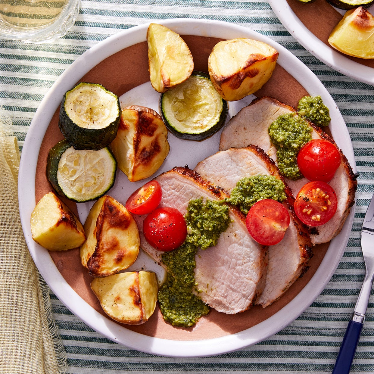Roast Pork & Vegetables with Basil Pesto & Marinated Tomatoes