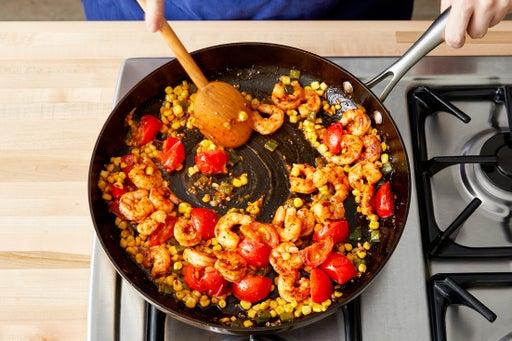 Finish the shrimp & serve your dish: