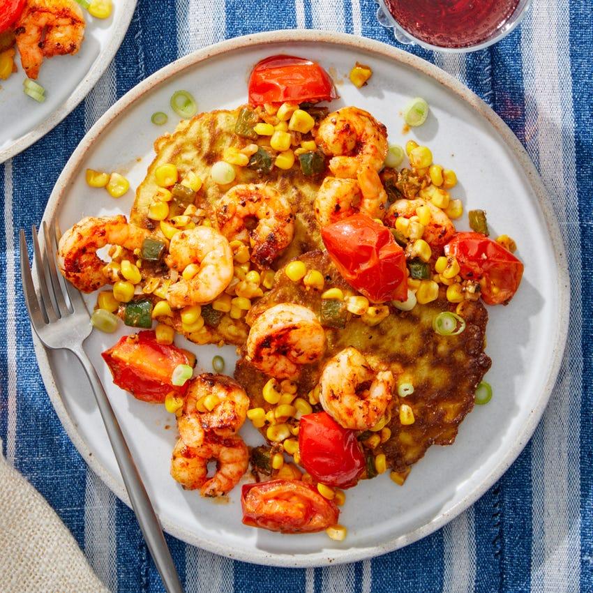 Cajun Shrimp & Corn Pancakes with Sautéed Summer Vegetables