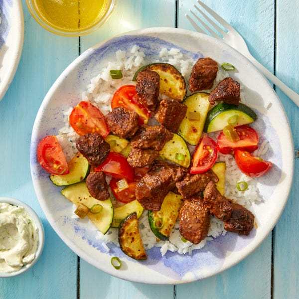 Mexican-Spiced Beef & Rice Bowls with Sautéed Zucchini & Tomatoes