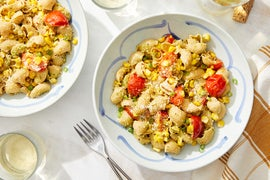 Summer Pipe Rigate Pasta with Pesto, Corn, & Tomatoes