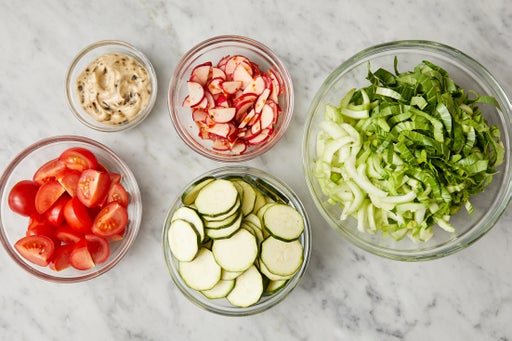 Prepare the ingredients & make the spicy radishes: