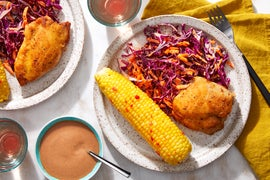 Crispy Chicken & BBQ Mayo with Corn on the Cob & Cabbage-Carrot Slaw