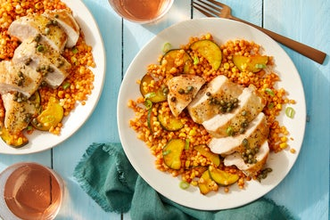 Seared Chicken & Brown Butter-Caper Sauce with Corn & Pearl Couscous