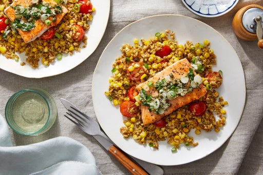 Salmon & Salsa Verde with Farro, Sweet Corn, & Basil Pesto