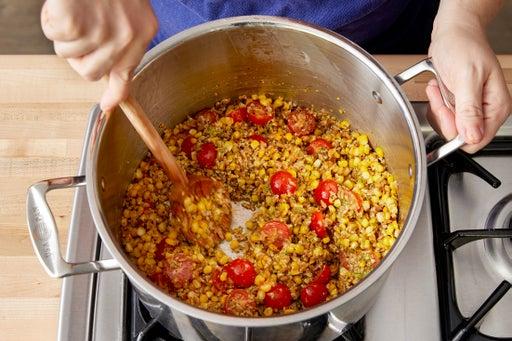 Cook the corn & finish the farro: