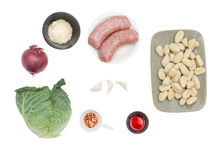 Gnocchi with Sausage and Savoy Cabbage ingredients