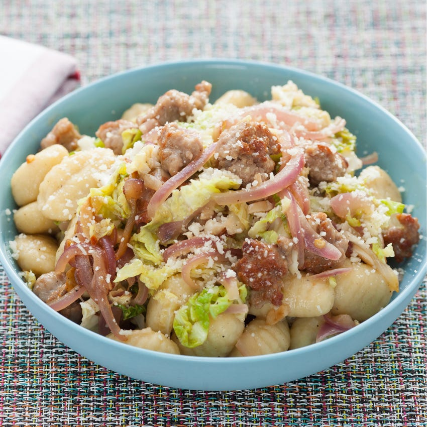Gnocchi with Sausage and Savoy Cabbage