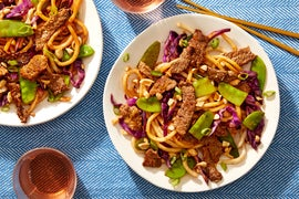Soy & Sesame-Glazed Beef Udon with Snow Peas, Cabbage, & Sweet Peppers