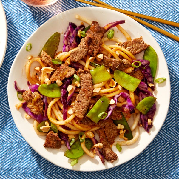 Soy & Sesame-Glazed Beef Udon with Snow Peas & Cabbage