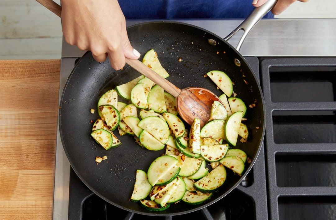 Cook the zucchini & finish the farro: