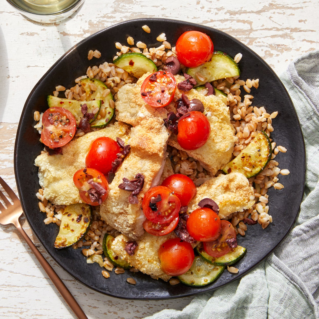 Seared Fish & Farro Salad with Summer Vegetables