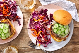 Cheeseburgers with Black Bean Mayo & Spicy Slaw