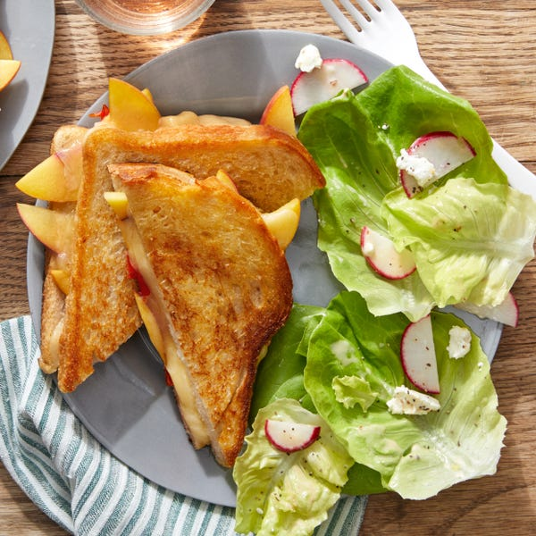 Peach & Pickled Pepper Grilled Cheese with Butter Lettuce & Radish Salad