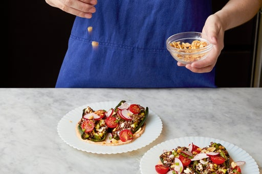 Finish the peppers & serve your dish: