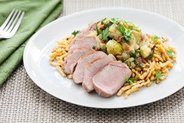 Pan-Roasted Pork Tenderloin with Brown Butter-Spaetzle, Roasted Brussels Sprouts & Granny Smith Apple