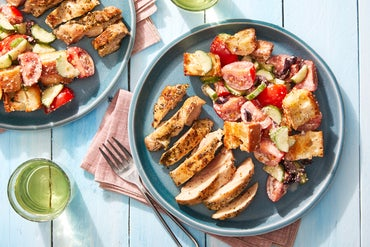 Seared Chicken & Tomato Panzanella with Parmesan-Garlic Dressing