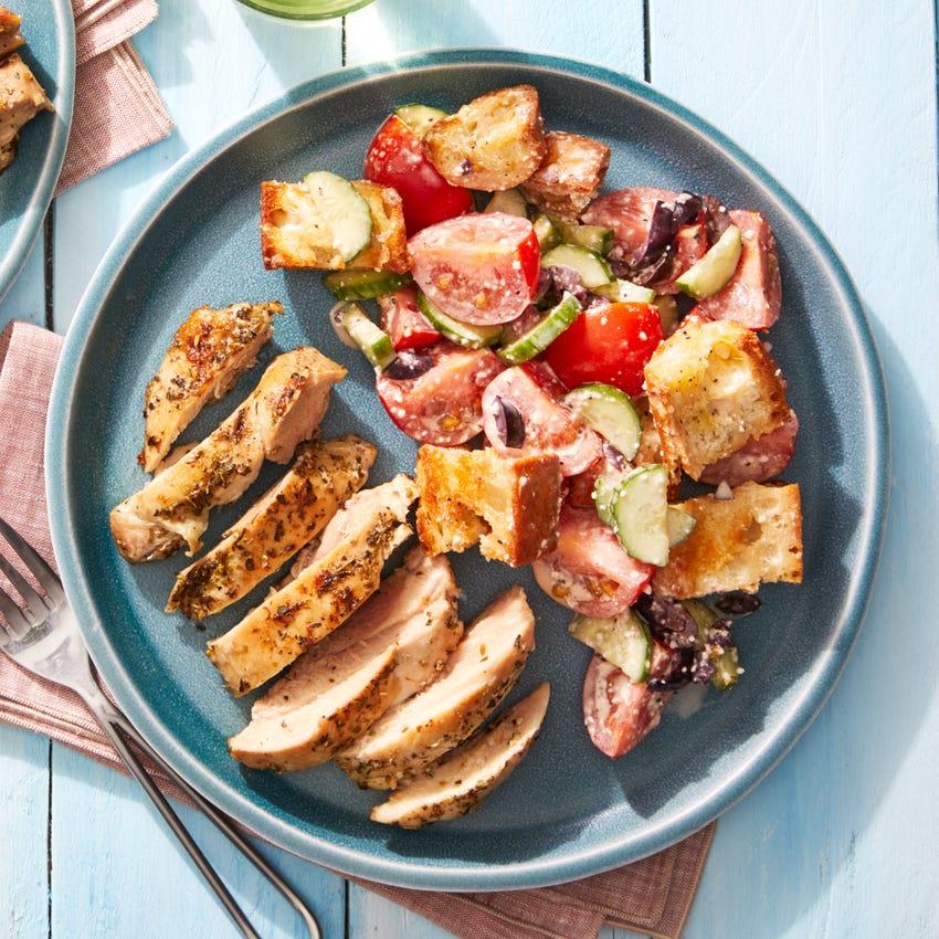 Seared Chicken & Tomato Panzanella with Parmesan-Garlic Dressing