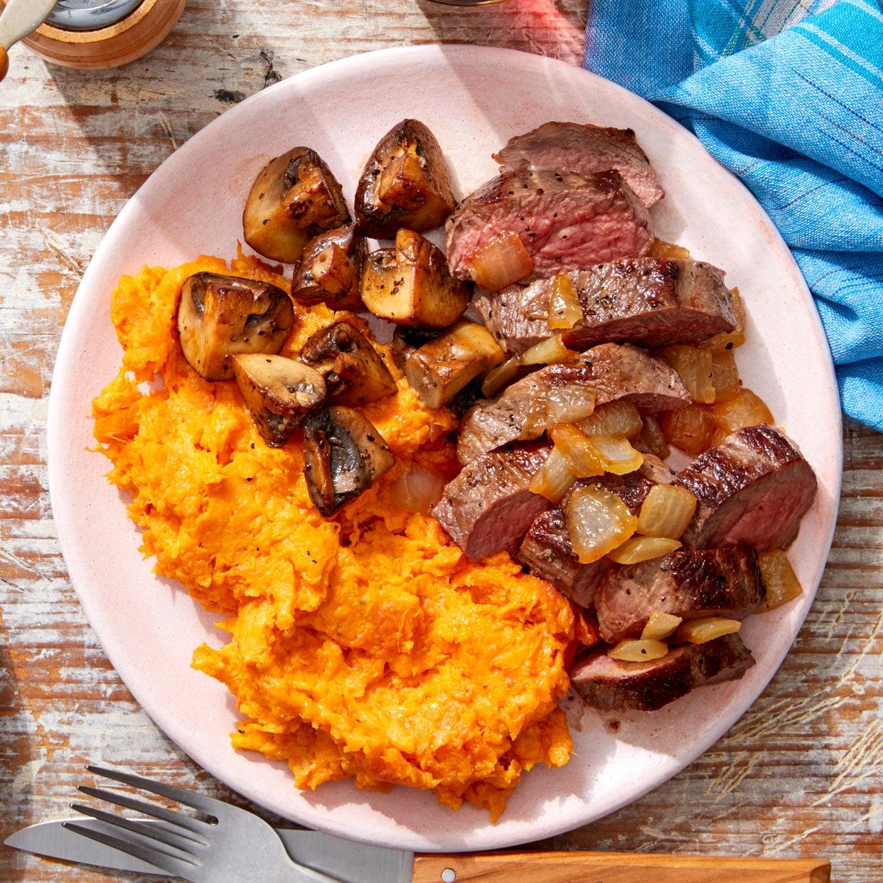 MasterChef Seared Steaks & Cheesy Mashed Sweet Potatoes with Cremini Mushrooms & Caramelized Onion