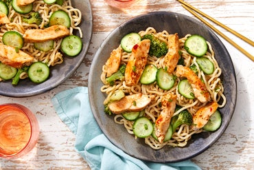 Chicken Lo Mein with Broccoli & Marinated Cucumbers