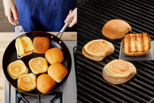 Toast the buns & assemble the burgers: