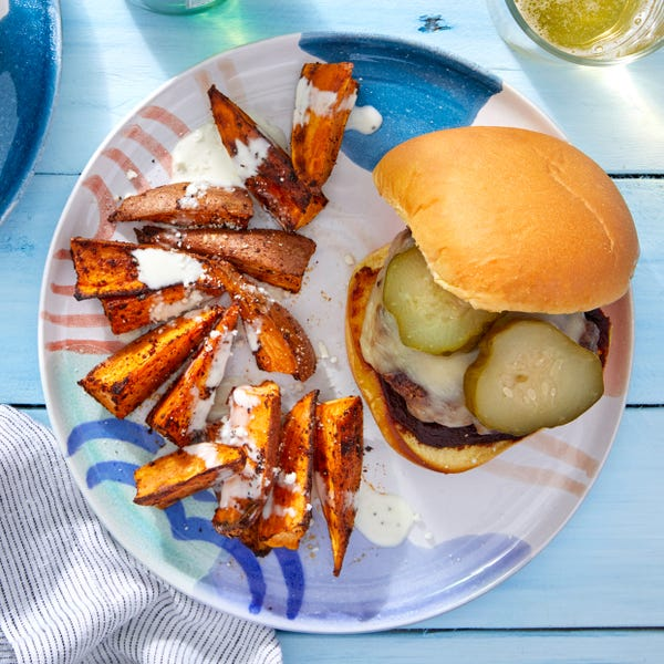 Smoky Cheeseburgers with Elote-Style Sweet Potatoes