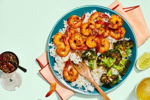 Chrissy Teigen's Garlic & Soy-Glazed Shrimp with Charred Broccoli  & Hot Green Pepper Sauce