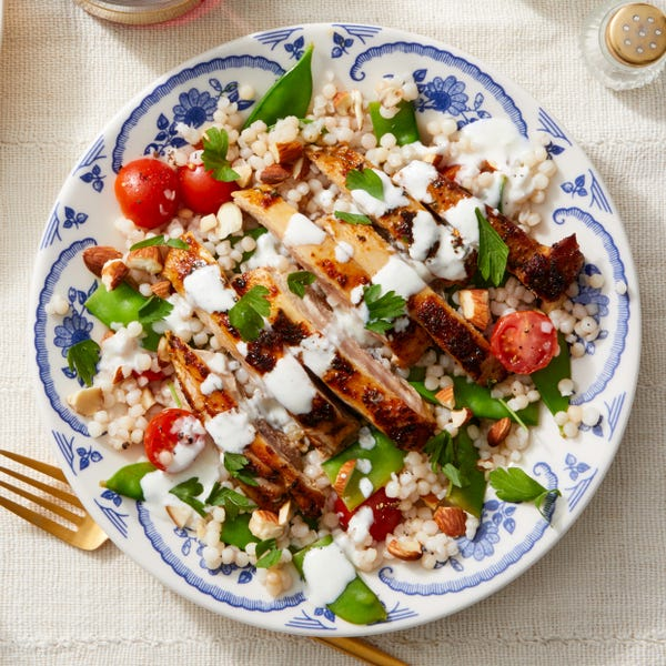 Seared Chicken Over Pearl Couscous with Snow Peas & Goat Cheese Dressing