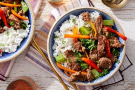 Sweet Chili Beef & Vegetable Stir-Fry with Garlic Rice