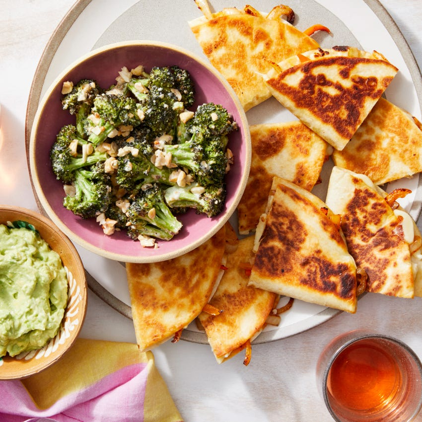 Spicy Onion & Pepper Quesadillas with Creamy Roasted Broccoli