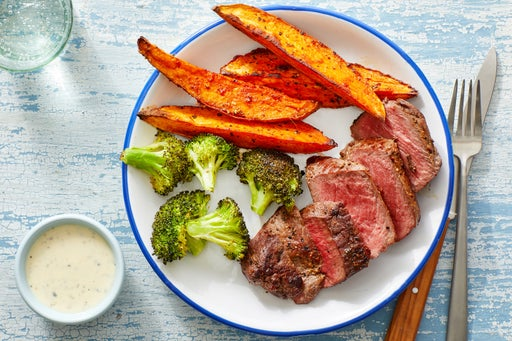 Steaks & Smoky Sweet Potato Wedges with Lemon Aioli
