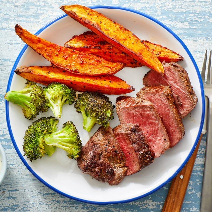 Steaks & Smoky Sweet Potato Wedges with Lemon Aioli