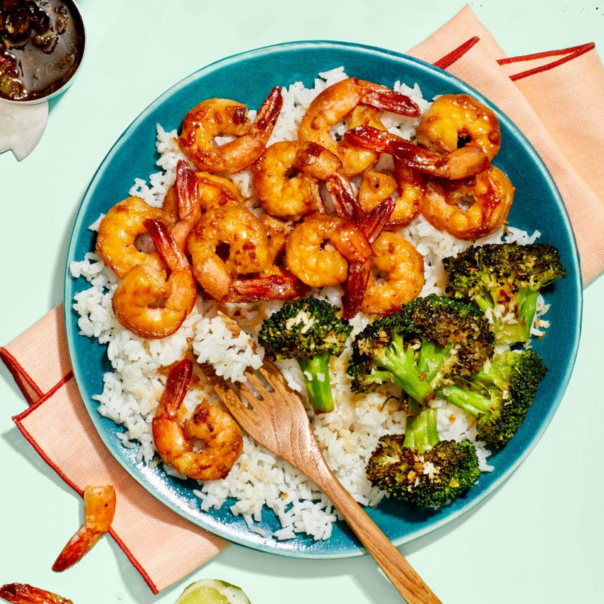 Chrissy Teigen's Garlic &  Soy-Glazed  Shrimp with Charred Broccoli  & Hot Green Pepper Sauce