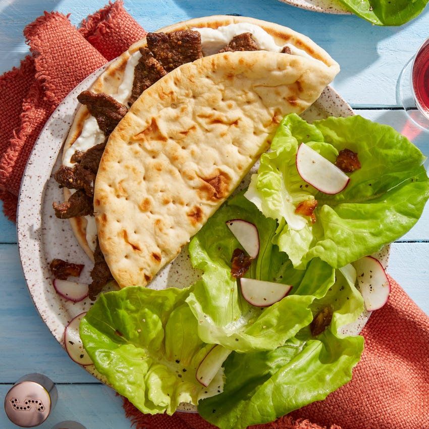 Spiced Beef Wraps with Butter Lettuce Salad