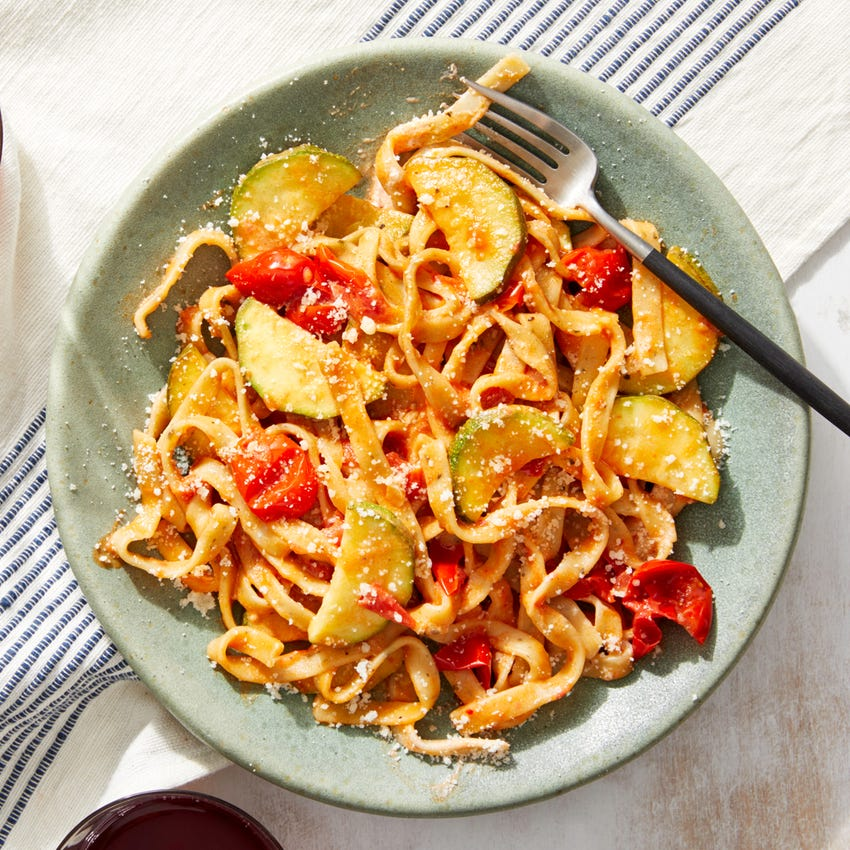 Fresh Basil Fettuccine with Zucchini, Tomatoes,  & Goat Cheese