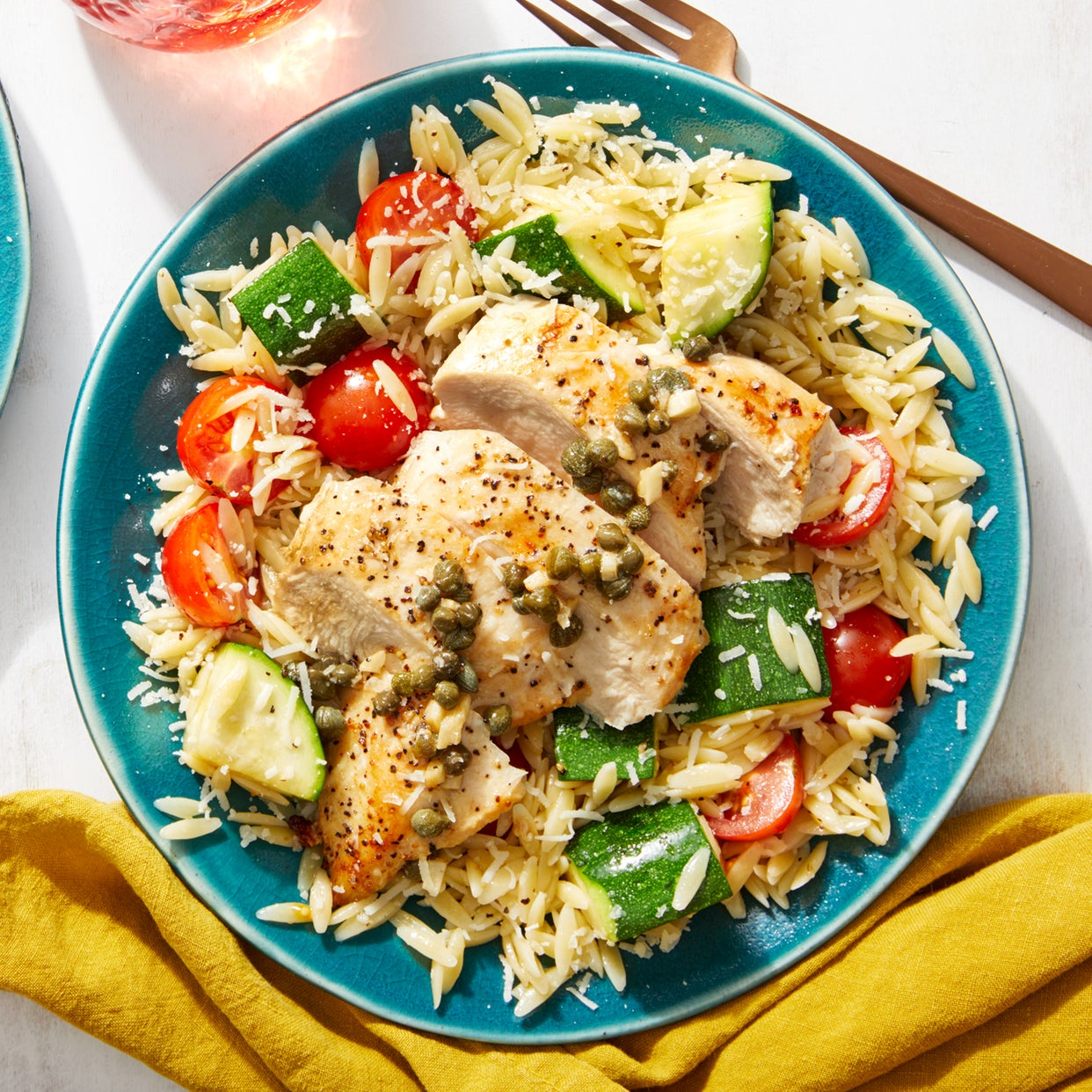 Chicken & Caper-Butter Sauce with Zucchini, Tomato, & Orzo Salad