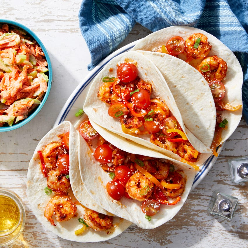Cajun Shrimp Tacos with Marinated Vegetables & Cotija Cheese