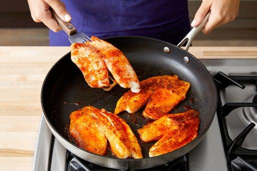 Cook & halve the fish: