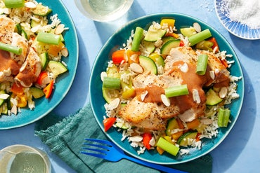 Seared Chicken & Tangy BBQ Sauce with Zucchini & Sweet Pepper Rice