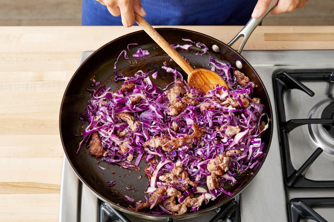 Cook the beef & cabbage: