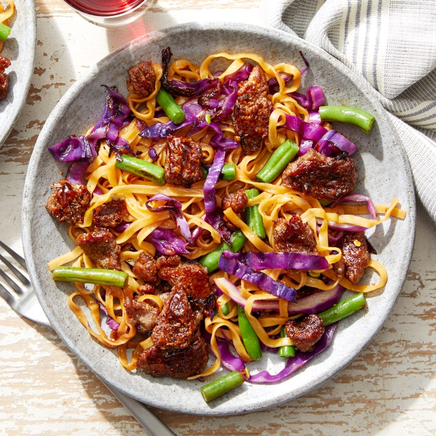 Sesame-Orange Beef & Wonton Noodles with Green Beans & Cabbage