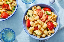 Saffron Pasta with Summer Vegetables & Spicy Breadcrumbs