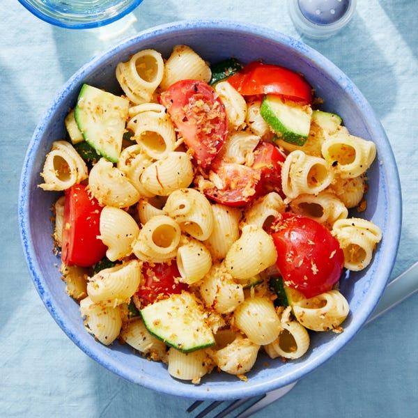 Saffron Pasta with Summer Vegetables & Spicy Breadcrumbs