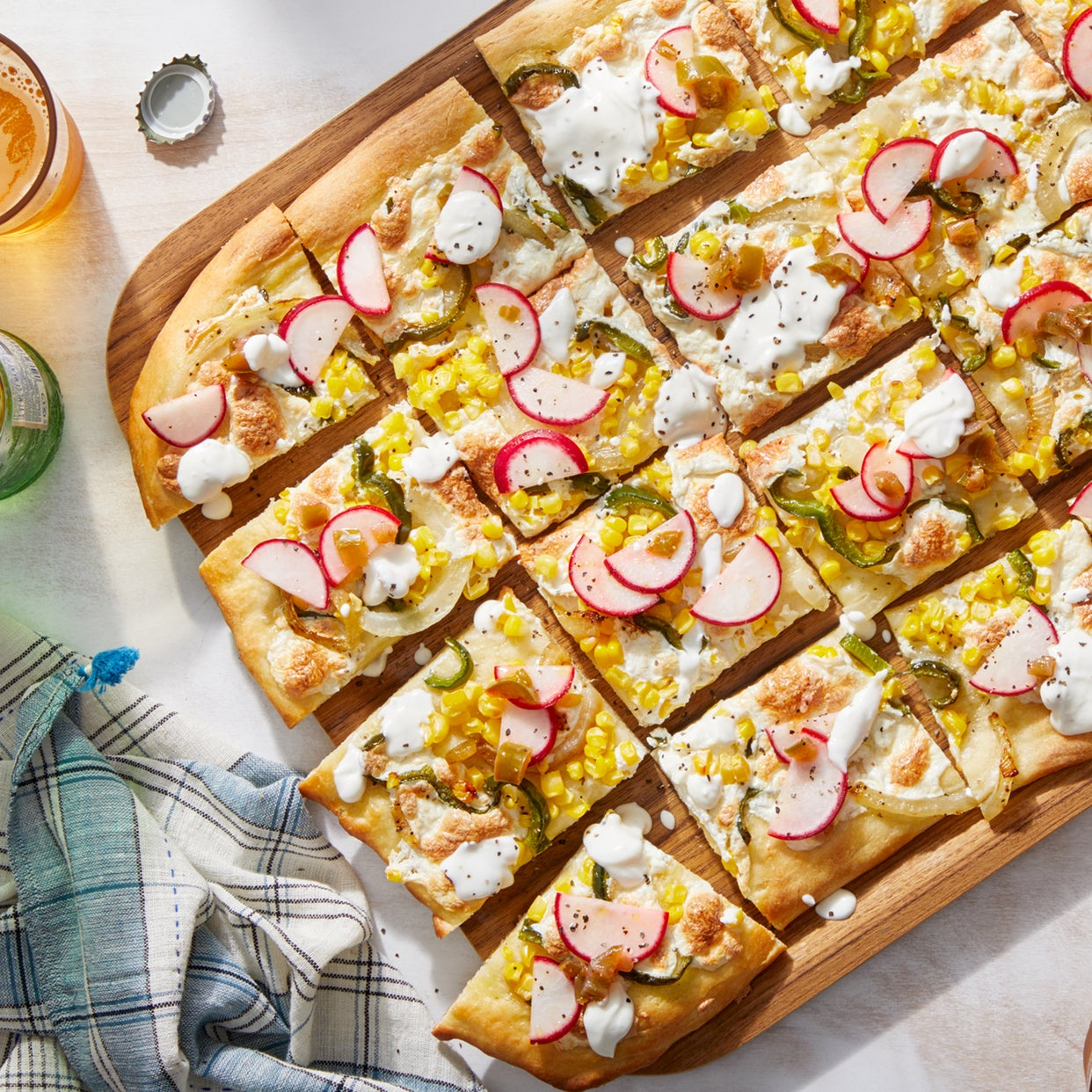Creamy Corn & Poblano Flatbread with Radish & Pickled Jalapeño Salsa