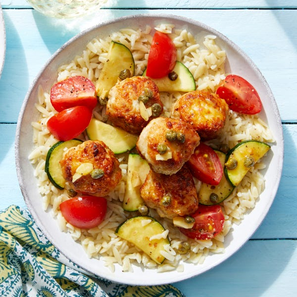 Chicken Piccata Meatballs with Tomatoes & Orzo