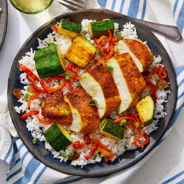 Curry-Spiced Chicken with Summer Vegetables  & Scallion Rice