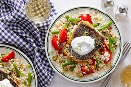 Za'atar Barramundi & Couscous with Marinated Tomatoes & Mint Yogurt