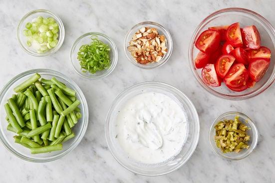 Prepare the ingredients & make the mint yogurt: