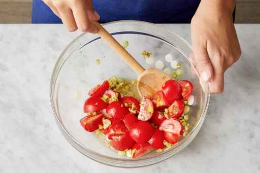 Marinate the tomatoes: